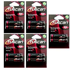 5 Packs of Tuscan AAA 800 mAh Rechargeable Battery