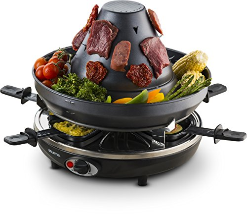 Gourmia GEG1400 Electric Raclette Party Grill With Vertical Grilling Sombrero & 6 Cheese Melting Trays, Non Stick- Free Recipe Book