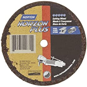 "Norton NorZon Plus Small Diameter Reinforced Abrasive Flat Cut-off Wheel, Type 01, Zirconia Alumina, 3/8"" Arbor, 3"" Diameter x 1/16"" Thickness  (Pack of 25)"