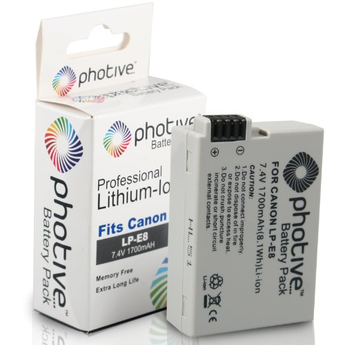Photive Original LP-E8 Ultra High Capacity Li-ion Battery For Canon T5i, T4i ,T3i and T2i (Canon LP-E8 Replacement)