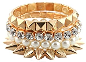 Ladies Gold Bundle Stretch Bracelet with Spikes, Pyramids, Pearls and Stones