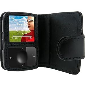 igadgitz Etui Poche de luxe en Cuir véritable, Housse de couleur Noir pour les lecteurs MP3 Philips GoGear Vibe (numéros de modèle qui commencent avec SA1VBE...)