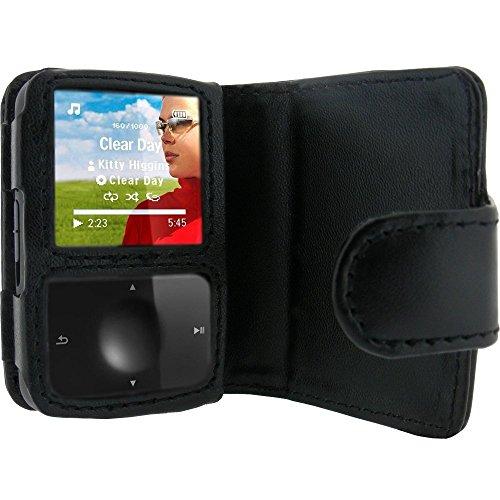 echtes Leder Tasche Schutzhülle Etui Case Hülle Portefeuille in Schwarz für Philips GoGear Vibe MP3-Player