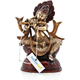 Collectible India Brass Sitting Krishna Statue With Flute -Janamashtami Puja Decor Religious Showpiece Gift Idol
