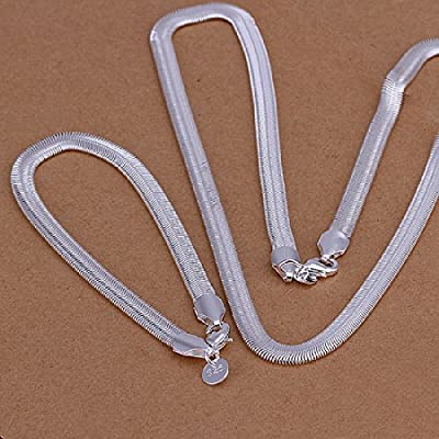 Hot Sale Wedding Fashion 925 Silver Plated Jewelry Set Hand Chain Bracelet Necklace 6Mm Width Flat Soft Snake Bone