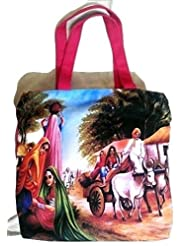 Happy Me Village Women Theme Canvas Hand Bag