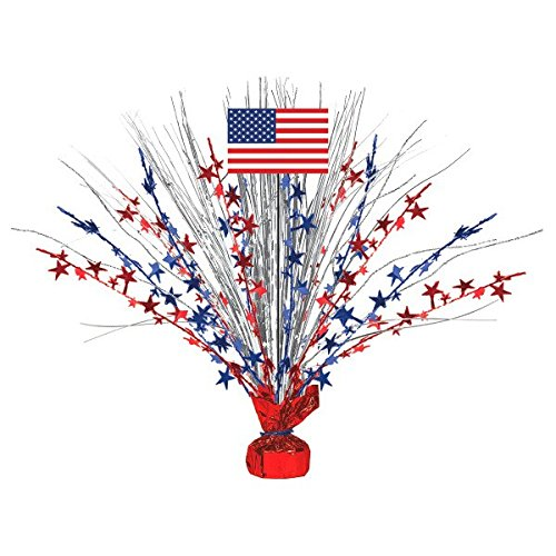 Large Patriotic Foil Spray Centerpiece 4th of July Party Table Decoration, 18