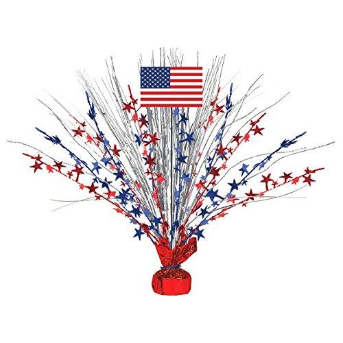 Amscan Large Patriotic Foil Spray Centerpiece 4th of July Table Decoration (1 Piece), Multi Color, 19 x 2.5