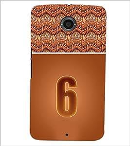 PrintDhaba Numerology Number 6 D-3638 Back Case Cover for MOTOROLA GOOGLE NEXUS 6 (Multi-Coloured)