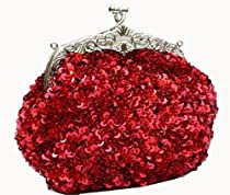 Chicastic Fully Sequined Mesh Beaded Antique Style Wedding Evening Formal Cocktail Clutch Purse - Red