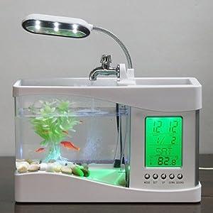 LCD Display Desktop LED Clock Lamp Light Digital Calendar Fish Tank