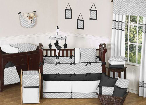 Gray And Black Chevron Zig Zag Baby Bedding 9pc Crib Set By Sweet Jojo Designs Fred J Penaez