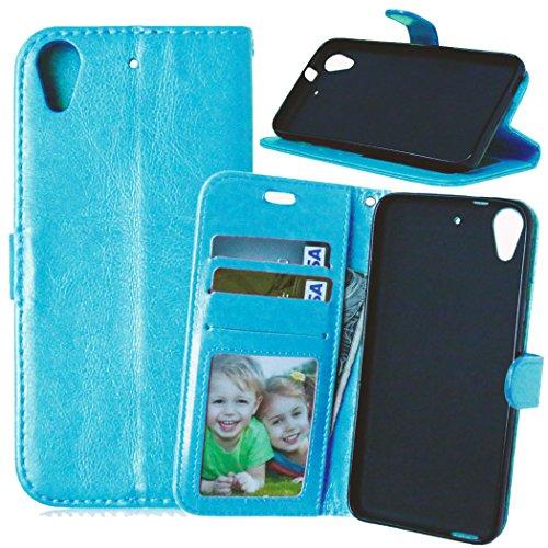 FUBAODA Desire 626 626S Hülle, [Kostenlos Syncwire Ladekabel][Photo View] PU Flip Leder Schmale Ständer Brieftasche mit ID / Bargeld / Karten Aussparrung und Ständerfunktion für HTC Desire 626 626S (blau)