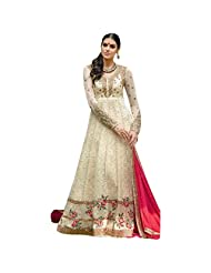 Cream Pure Georgette Designer Party Wear Anarkali Salwar Kameez Semi Stitched