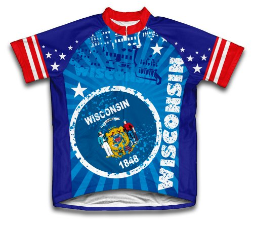 Wisconsin Short Sleeve Cycling Jersey for Men - Size 2XL (Wisconsin Cycling Jersey compare prices)