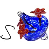 HUMMINGBIRD FEEDER - Hand-Blown Glass Feeders | Makes a Flower Vase | Blue Bouquet Cap with Red Flowers | 20 ounces of Nectar | (by Best Home Products)
