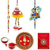 Gomati Ethnic Ethnic Meenakari Pooja Thali Raksha Bandhan Gift Rakhi For Brother With Gift Combo And Rakhi For Bhaiya Bhabhi Combo Free Shipping+Roli+Chawal+Greeting Card !!-1Bbkts321