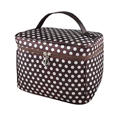 Best Cheap Deal for Ladies White Coffee Color Polka Dots Mirror Pockets Hand Strap Cosmetic Makeup Bag by Rosallini - Free 2 Day Shipping Available