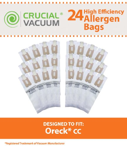 24 Oreck Type CC Allergen Filtration Vacuum Cleaner Bags, Fits Style CC, and ALL XL Upright Models - Compare to Oreck Part # CCPK8, CCPK8DW, Designed & Engineered By Crucial Vacuum (Xl Vacuum Bags compare prices)