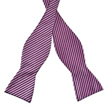Pensee Mens Self Bow Tie Black & Light Purple Stripes Jacquard Woven Silk Bow Ties