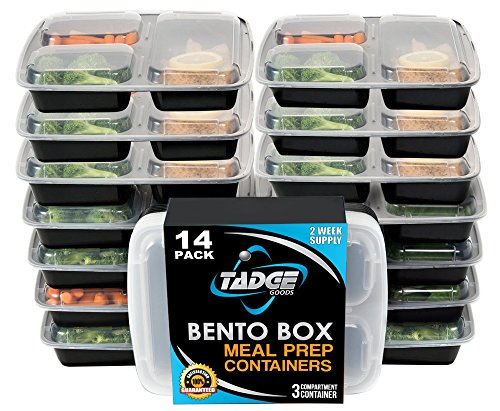 meal prep containers 3 compartment 14 pack lunch box bento box food storage ebay. Black Bedroom Furniture Sets. Home Design Ideas