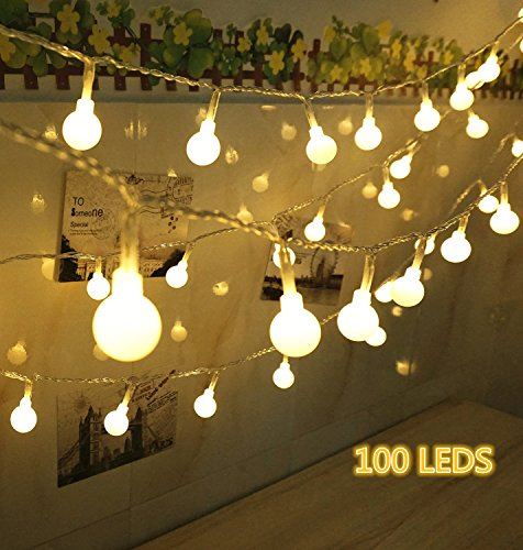 100 LED Globe String Lights, Ball Christmas Lights, Indoor / Outdoor Decorative  Light,