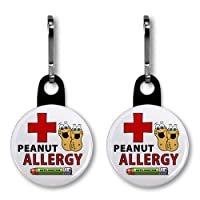 PEANUT ALLERGY Green EpiPen Medical Alert Pair of 1 inch Black Zipper Pull Charms from Creative Clam