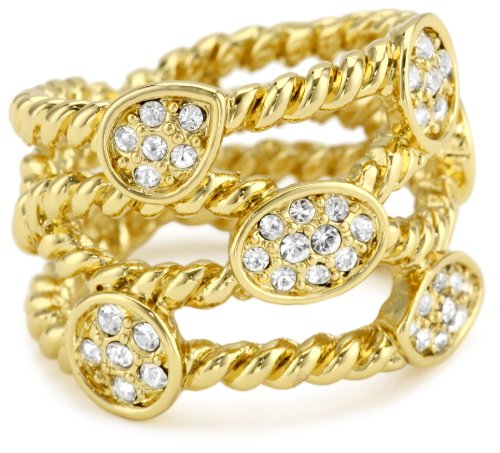 T Tahari Gold and Pave Crystal Rope Ring, Size 7