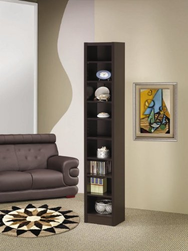 Espresso finish wood narrow 9 shelf book case (Narrow Espresso Bookcase compare prices)