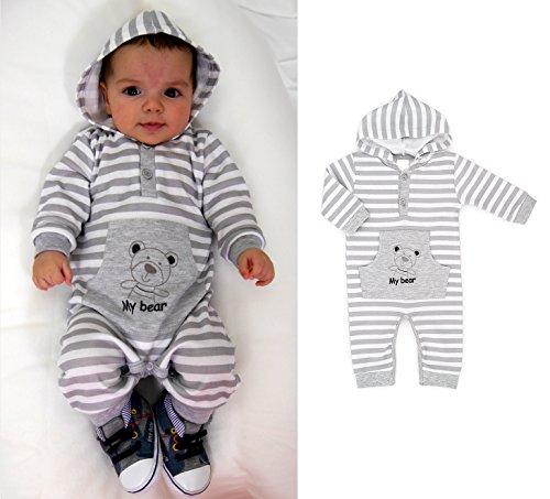 Baby Strampler mit Kapuze grau Gr.62-86 (62)