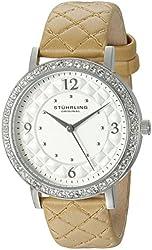 Stuhrling Original Women's 'Audrey 786' Quartz Stainless Steel and Leather Dress Watch, Color:Beige (Model: 786.01)