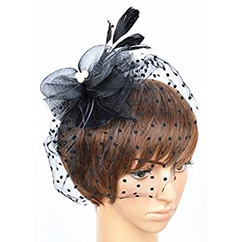 Fascinator on Hairclip for Women Mesh Feather