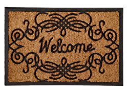 Welcome Scroll Oblong Rectangle - Super Heavy Duty Outdoor Premium Coir and Rubber Brush Mat 18x27 by Iron Gate - Extremely durable with strong rubber backing - Grips the ground and prevents skidding - Traps dust - Welcome your guests with this high quality doormat