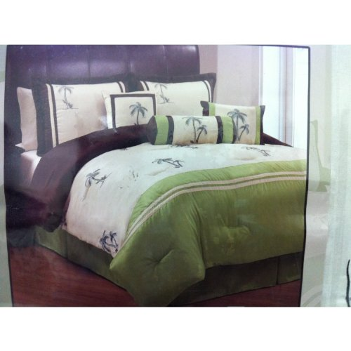 Signature Collection Palm Tree King Size 7 Piece Bedding Set