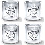 Okayji Crystal Skull Doomed Shot Glass For Tequila, Vodka. Bar Accessory & Home Decor, Pack Of 4