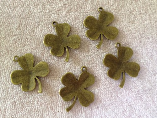 5 Piece Antique Bronze Shamrock Clover Leaf Charm & Pendant Tibetan Style Jewelry Findings