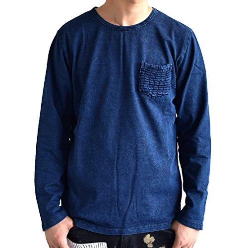お手頃メンズ Otegoro Men's インディゴ ニットポケット付き ロングTシャツ
