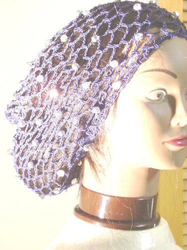 Sn15, Hand Crocheted Navy Gimp Large Snood Trimmed with Fire Polished Silver Beads for Women