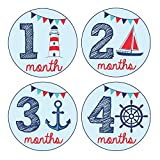 Pinkie Penguin Baby Monthly Stickers - Nautical Theme - Baby Boy - 1-12 Months - Milestone Onesie Stickers -Baby...