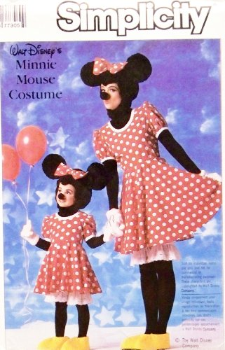 Simplicity 7730 Walt Disney Minnie Mouse Costume Pattern Childs 10 & 12