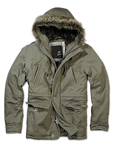 Brandit Vintage Explorer Giacca da uomo invernale caldo Parka militare esercito Coat Olive XL