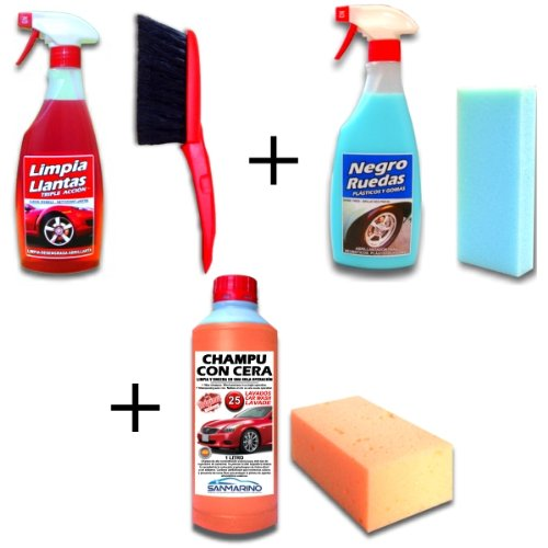 sanmarino-lote-limpiallantas-abrillantador-neumaticos-champu-con-cera-cepillo-2-esponjas