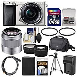 Sony Alpha A6000 Wi-Fi Digital Camera & 16-50mm Lens (Silver) with 50mm f/1.8 Lens + 64GB Card + Case + Battery/Charger + Tripod + Tele/Wide Lens Kit