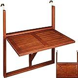 Balkonhängetisch Hängetisch Balkontisch Akazienholz klappbar 64x45x87cm