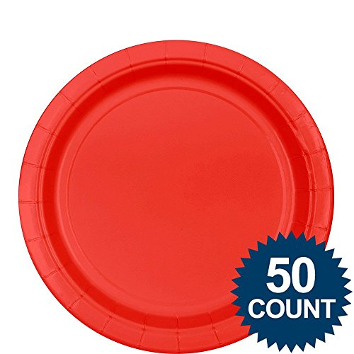 Apple Red Paper Lunch Plate 50ct