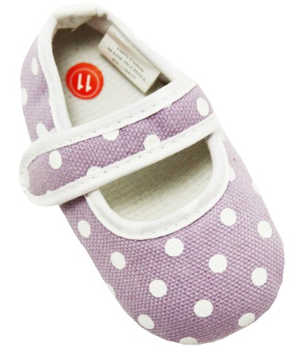 Lavender With White Polka Dots Baby Crib Shoes - 6-12 Months front-10581
