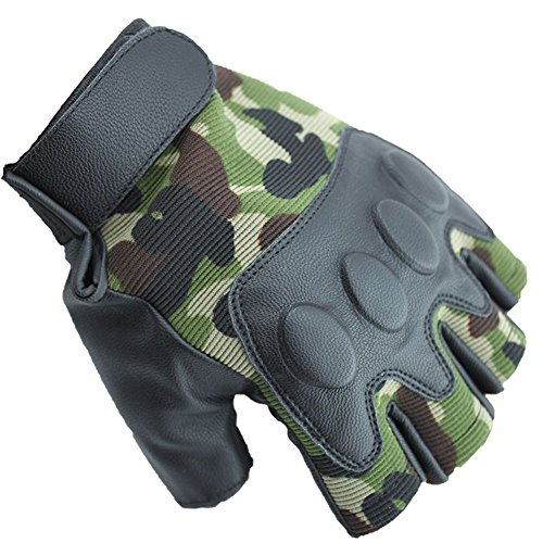 Dealzip Inc® Camouflage Sport Cycling GYM Weightlifting Exercise Training Body Building Fitness Free Size Half Finger Gloves +Gift pattern send randomly