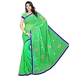 Prism Collection Chiffon Embroidered Saree (PRISM SARI 04_Green)