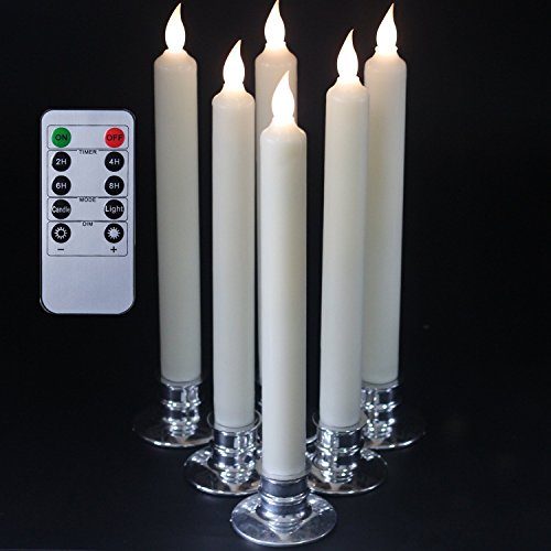 set-of-6-flameless-ivory-battery-powered-taper-candles-with-remote-led-candles-wax-candle-holder-inc