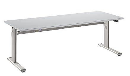 Scrivania Hammerbacher Serie XM 180 cm poltrona ad altezza regolabile elettricamente legno decorazione a scelta bianco